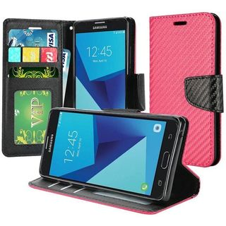 Insten Hot Pink Carbon Fiber Leather Case Cover Lanyard with Stand/Wallet Flap Pouch For Samsung Galaxy J7 (2017)