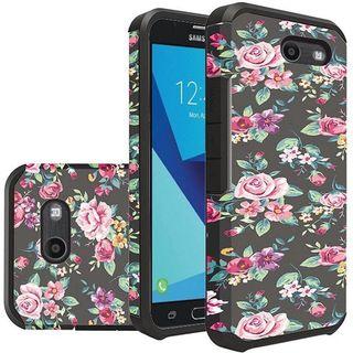 Insten Multi-Color Tropical Flowers Hard PC/ Silicone Case For Samsung Galaxy Halo/ J7 (2017)/ J7 Perx/ J7 Prime/ J7 Sky Pro