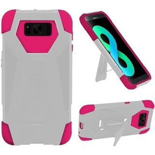 Insten White/Hot Pink T-Stand Hard PC/ Silicone Dual Layer Hybrid Case Cover with Stand For Samsung Galaxy S8 Plus S8+