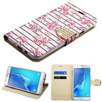 Insten White/Pink Roses Leather Case Cover with Stand/Wallet Flap Pouch For Samsung Galaxy J7 (2017)/J7 Perx/J7 Sky Pro/J7 V