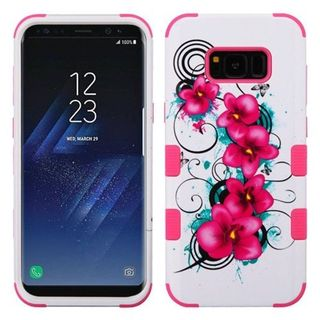 Insten White/Hot Pink Morning Petunias Tuff Hard Snap-on Dual Layer Hybrid Case Cover For Samsung Galaxy S8