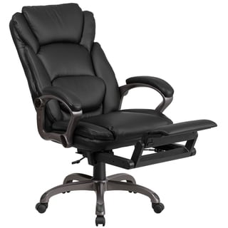 Executive Multifunction High Back Plush Black Leather Reclining Swivel Office Chair