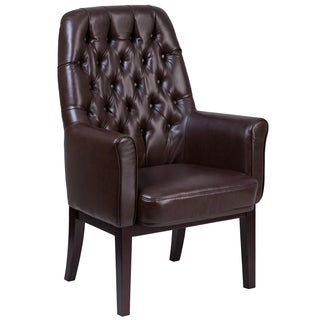 Brown Leather Button-tufted Reception/Conference/Office Arm Chair