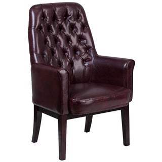 Burgundy Leather Button-tufted Office Armchair