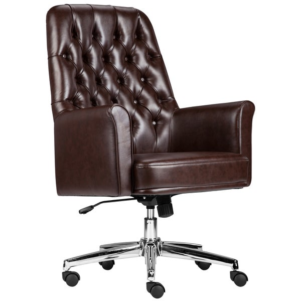 Multifunction Brown Leather Button-tufted Executive Swivel Office Chair
