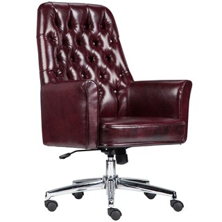 Burgundy Leather and Chrome Multifunction Button-tufted Executive Swivel Office Chair