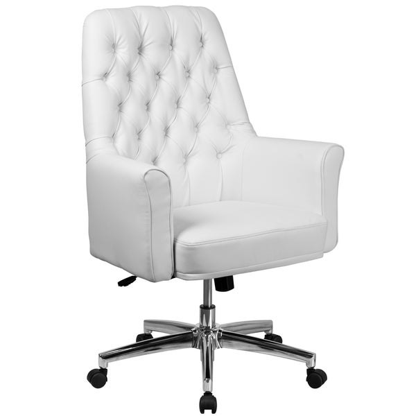 White Leather Button-tufted Multifunction Executive Swivel Office ...