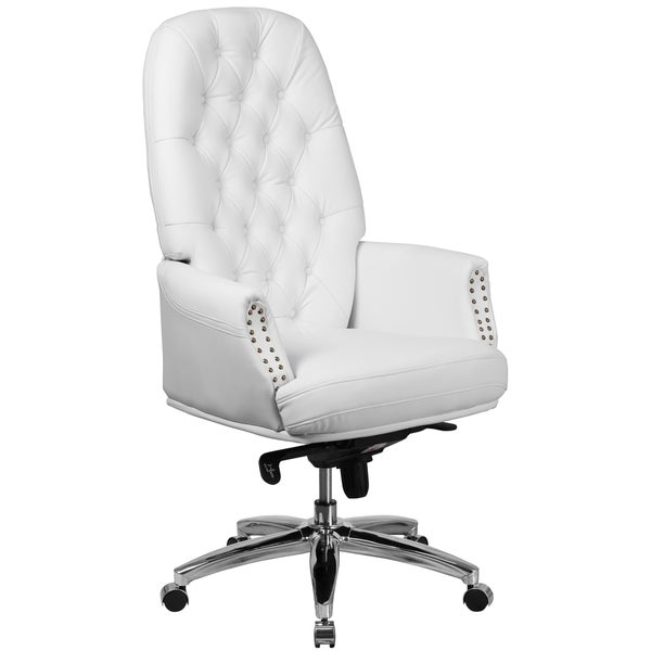 shop white leather chrome multifunction button tufted executive