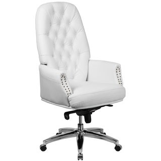 White Leather/Chrome Multifunction Button-tufted Executive Swivel Office Chair