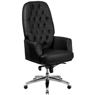 Black Leather Button-tufted Swivel Executive Office Chair