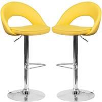 Modern Rounded Floating Back Design Yellow Swivel Adjustable Barstools