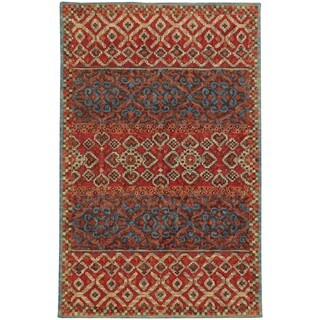 Tommy Bahama Jamison Red/Blue Wool Area Rug - 3'6 x 5'6