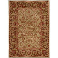 Tommy Bahama Vintage Beige/Red Wool Area Rug - 3'10 x 5'5