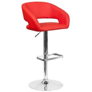Red Faux-leather/Chrome Floating-back Design Swivel Adjustable Barstool