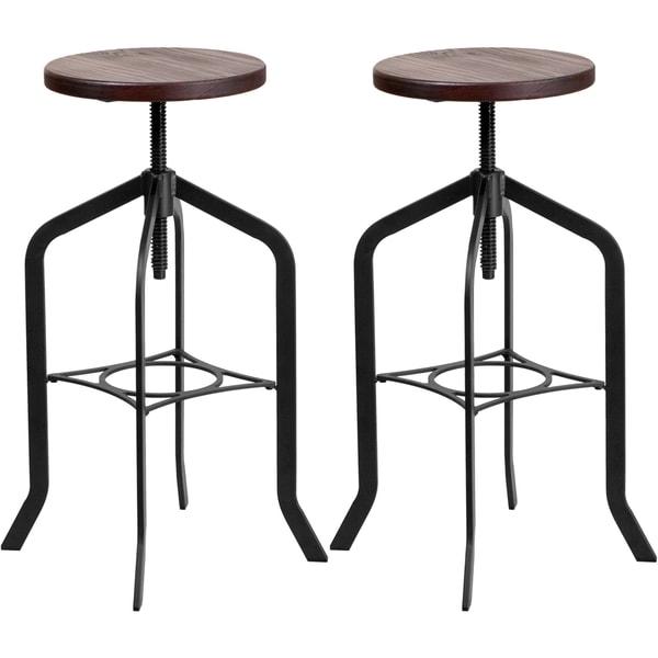 Shop Nostalgic Rustic Style Swivel Adjustable Barstools