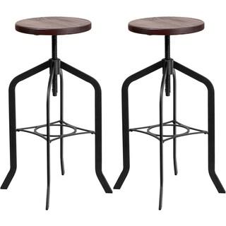 Nostalgic Rustic Style Swivel Adjustable Barstools