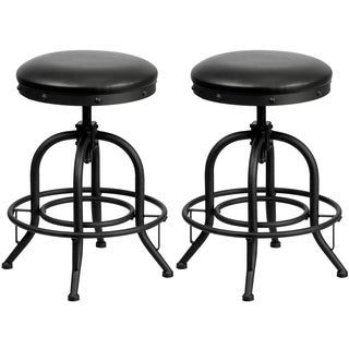 Nostalgic Black Leather Seat Swivel Adjustable Counter-height Stools