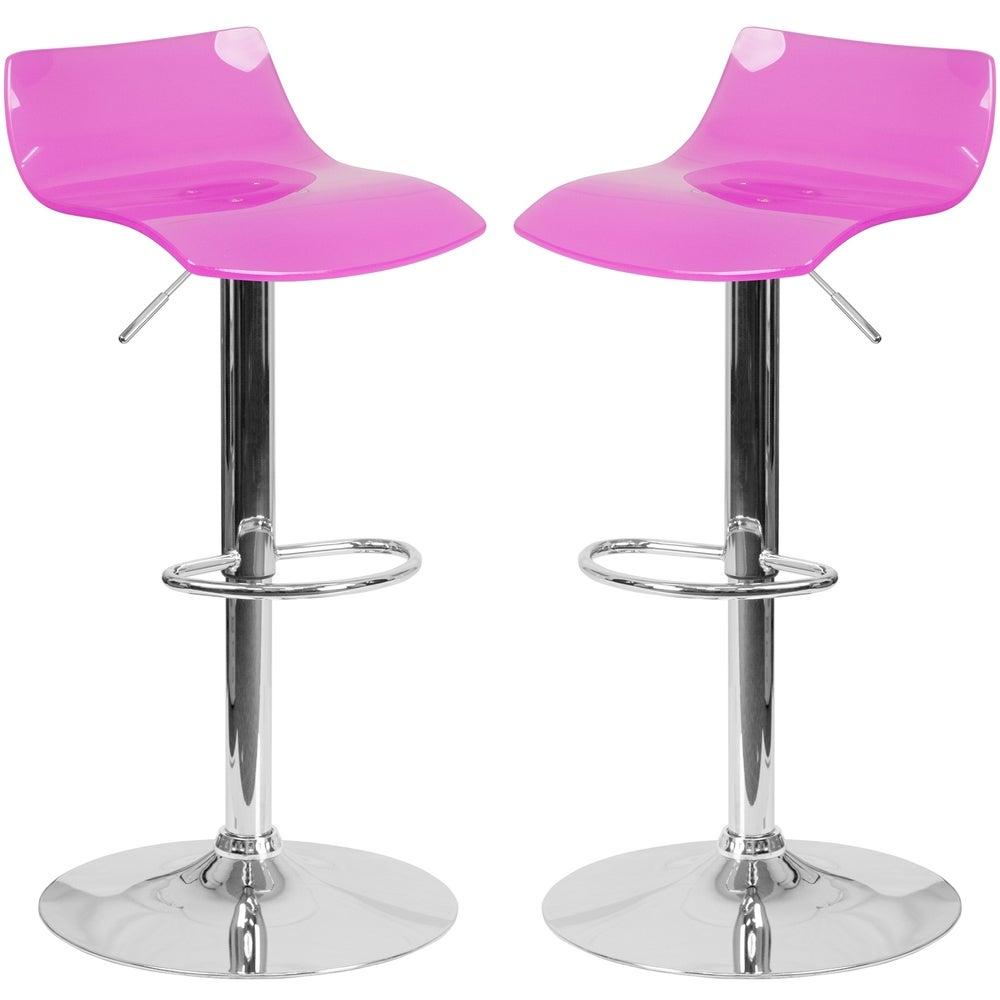 A Line Furniture Lotos Hot Pink Transparent Acrylic/Chrome Adjustable Swivel Barstool (1 stool)