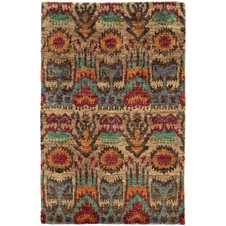 Tommy Bahama Ansley Beige/Multicolored Jute Abstract Area Rug - 3'6 x 5'6