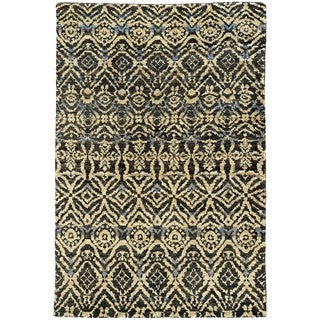 Tommy Bahama Ansley Black and Beige Jute Area Rug - 3'6 x 5'6