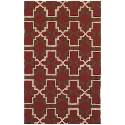 "Tommy Bahama Atrium Red/ Brown Area Rug (3'6x5'6) - 3'6"" x 5'6"""