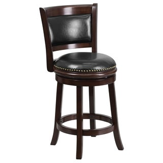 Cappuccino Wood and Black Leather Swivel Counter-height Stool