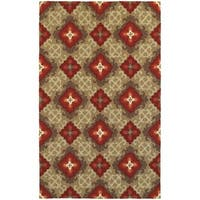 """Tommy Bahama Atrium Brown/ Red Area Rug (3'6x5'6) - 3'6"""" x 5'6"""""""