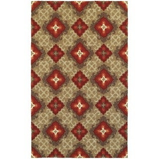Tommy Bahama Atrium Brown/ Red Area Rug - 3'6x5'6