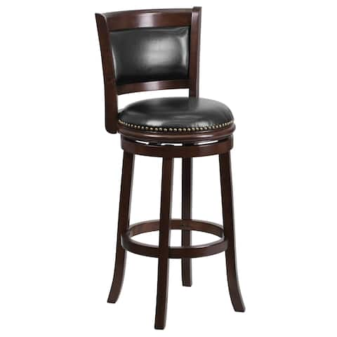 Cappuccino Wood and Black Leather Swivel Barstool