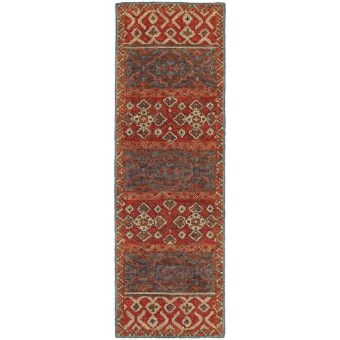"Tommy Bahama Jamison Red/Blue Wool Area Rug (2'6 x 8') - 2'6"" x 8' Runner"