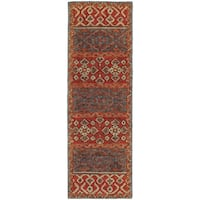 Tommy Bahama Jamison Red/Blue Wool Area Rug - 2'6 x 8'