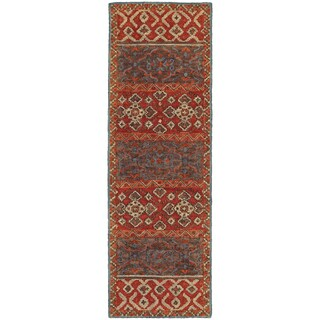 Tommy Bahama Jamison Red/Blue Wool Area Rug (2'6 x 8')