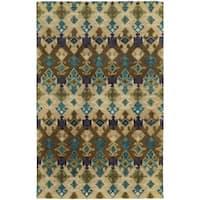 Tommy Bahama Jamison Beige/Blue Wool Area Rug - 3'6 x 5'6
