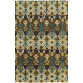 Tommy Bahama Jamison Beige/Blue Wool Area Rug (3'6 x 5'6)