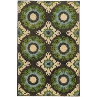 Tommy Bahama Jamison Black/Green Wool Area Rug (3'6 x 5'6)