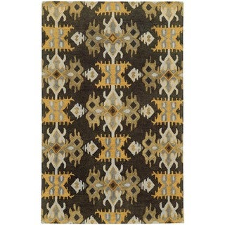 Tommy Bahama Jamison Black/Gold Wool Area Rug (3'6 x 5'6)
