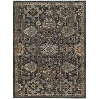 Tommy Bahama Vintage Blue/Grey Wool Area Rug (1'10 x 3'3)