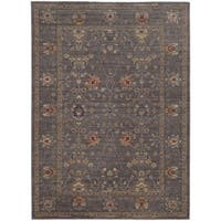 Tommy Bahama Vintage Blue/ Gold Wool Area Rug - 1'10x3'3