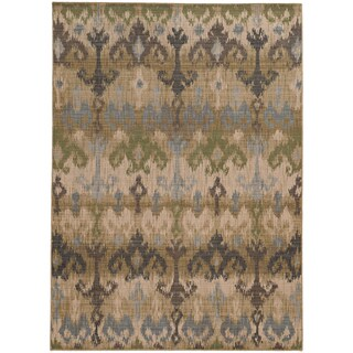Tommy Bahama Vintage Beige/ Blue Wool Area Rug - 1'10x3'3