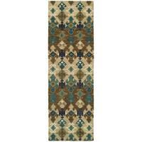 "Tommy Bahama Jamison Beige/Blue Wool Area Rug (2'6 x 8') - 2'6"" x 8' Runner"