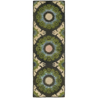 Tommy Bahama Jamison Black/Green Wool Area Rug (2'6 x 8')