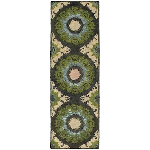 Tommy Bahama Jamison Panel Medallion Woold Loop Pile Hand-made Rug