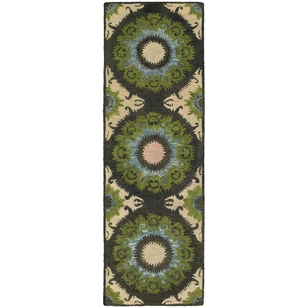 "Tommy Bahama Jamison Black/Green Wool Area Rug (2'6 x 8') - 2'6"" x 8' Runner"