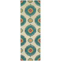 "Tommy Bahama Jamison Beige/Blue Wool Area Rug (2'6 x 8') - 2'6"" x 8' Runner"