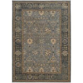 Tommy Bahama Vintage Blue/Beige Wool Area Rug (1'10 x 3'3)