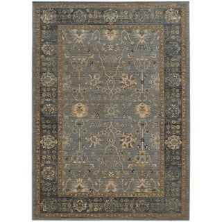 Tommy Bahama Vintage Blue/Beige Wool Area Rug - 1'10 x 3'3