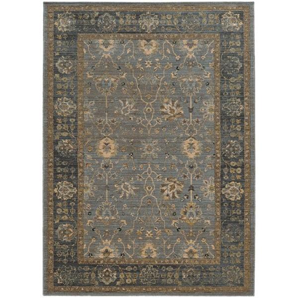 "Tommy Bahama Vintage Blue/Beige Wool Area Rug (1'10 x 3'3) - 1'10"" x 3'3"""