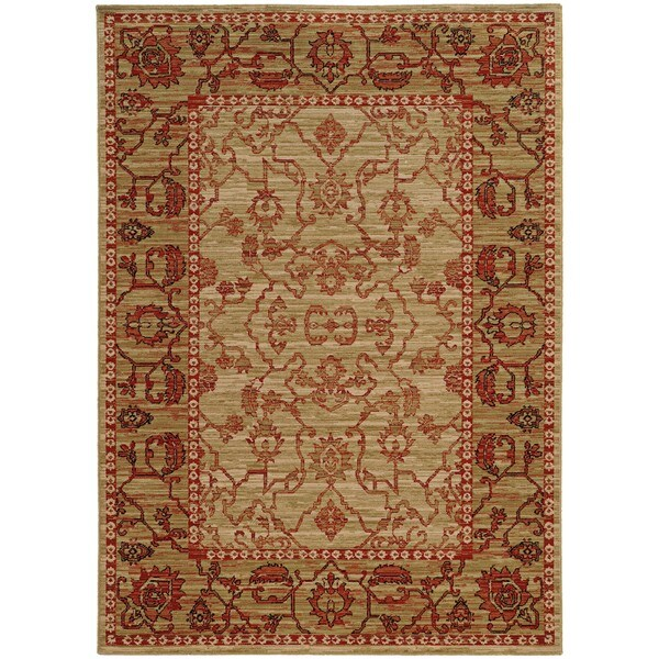 Tommy Bahama Vintage Beige/Red Wool Area Rug (1'10 x 3'3)