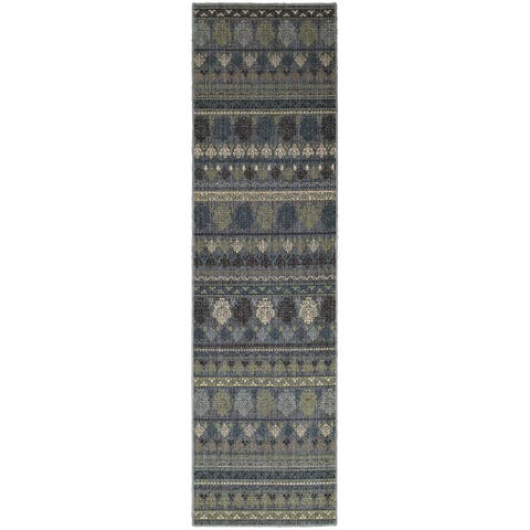 "Tommy Bahama Vintage Blue Wool Area Rug (2'7x9'4) - 2'7"" x 9'4"" Runner"