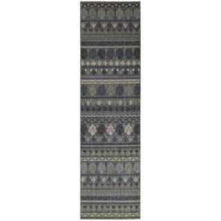 Tommy Bahama Vintage Blue Wool Area Rug - 2'7x9'4